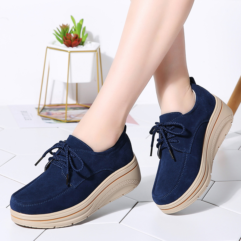 2019 Spring Women Flats Platform Sneakers Shoes   Leather     Suede   Lace up Moccasin Chaussure Femme Tenis Feminino Shoes Woman 3929