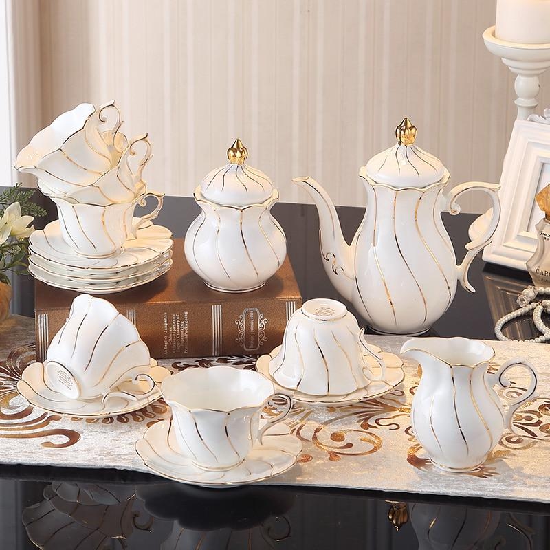 Europa Zlato Inlay Bone Kina Kava Set Britanski porculanski čaj Set - Kuhinja, blagovaonica i bar - Foto 2