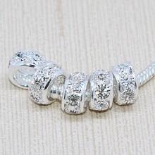 Wholesale 100pcs 10*6mm Gümüş Kaplama Temizle Kristal Rhinestone Yuvarlak Büyük Delik göz alıcı boncuk Fit Avrupa Bilezik Zinciri Bulguları