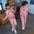 Большие девушки дети девушки осень дети костюм с длинными рукавами 2015 новая весна спортивный свитер девушка из трех частей