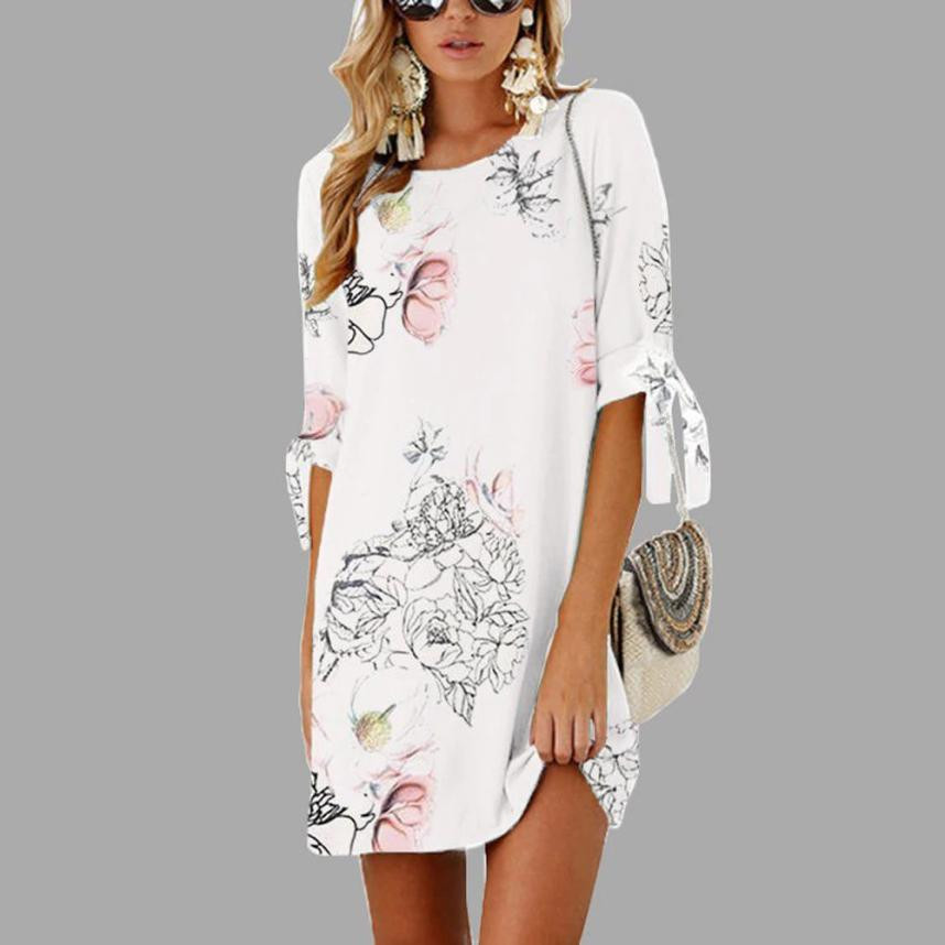 2018 Summer Style Half Sleeve Dress Bow Bandage Floral Striaght Casual Short Mini Dress O-Neck high quality sundress for party