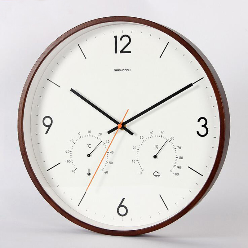 14 Inch Wooden Frame Wall Clock Silent Non Ticking Quartz Movement Wall Watch With Thermometer Hygromemter Humidity Living Room