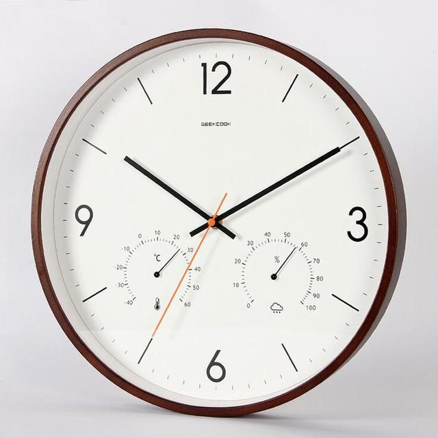 14 inch Wooden Frame Wall Clock Silent Non Ticking Quartz Movement ...