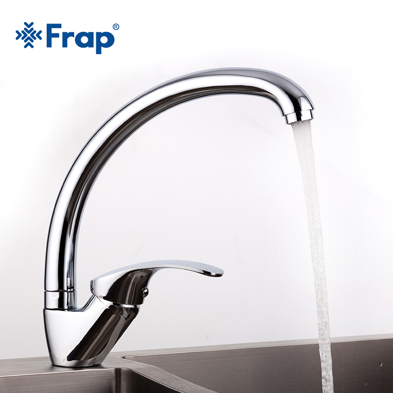 FRAP Big promotion Zinc alloy deck mounted kitchen sink faucet Cold and Hot Water Tap 360 Degree Swivel mixer faucets torneira deck mounted kitchen sink faucet 360 degree swivel hot and cold water mixer tap oil rubble bronze black faucet