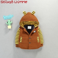 Winter Baby Boys Striped Print Hooded Thicken Cotton Casual Jacket Outerwear Children Kids Warm Coats casaco