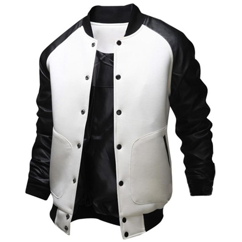 Brand Design Baseball Jacket Men 2015 Fashion Pu Leather