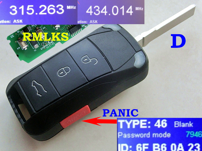 RMLKS Pliant Nouveau Clé À Distance 4 Boutons 315 mhz 433 mhz ID46 PCF7946AT Puce HU66 Lame Adaptée Pour Porsche cayenne (2004-2012)