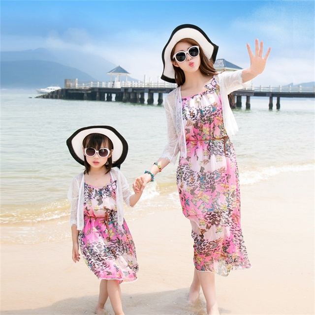 Bohemian Butterfly Dresses Sleeveless Summer Ventilation Comfortable Smooth Exquisite Patchwork Dresses Family Matching Outfits