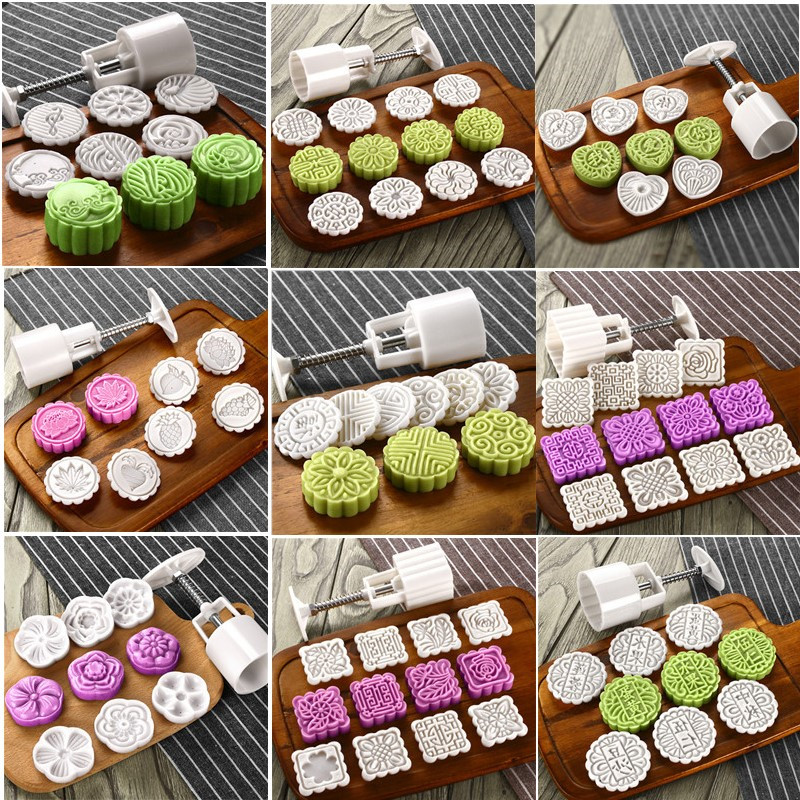 Molds-Set Plungers Cake-Mold Cookie-Cutters Bath-Bombs White-Stamps Round Square Plastic
