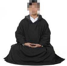 UNISEX High-grade cotton men&women meditation cloak Buddhism clothes Buddhist suits Lay warm martial arts mantle capes gray(China)