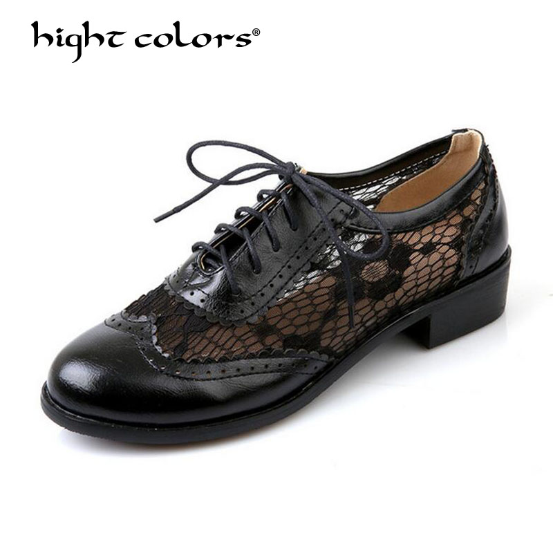 2019 Elegant Lace Women Oxford Shoes Sexy Low Heel Women Spring Autumn Breathable Round Toe Handmade Lady Brogues Shoes 2019 Elegant Lace Women Oxford Shoes Sexy Low Heel Women Spring Autumn Breathable Round Toe Handmade Lady Brogues Shoes