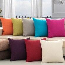 купить Fashion Decorative Solid Linen Cushion Cover Green Gray Orange White Pillow Cover 45*45CM Home Chair Office Car Thick Pillows по цене 313.48 рублей