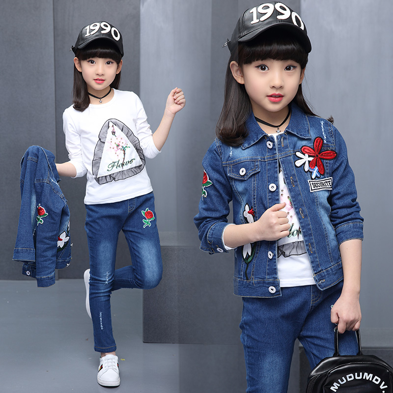 2019 Feiluo Toddler Infant Kids Baby Girl Solid T-Shirt Tops Denim Jeans Pants 3Pcs Sets Fashion Clothes Autumn Outfit 7 8 9 Y