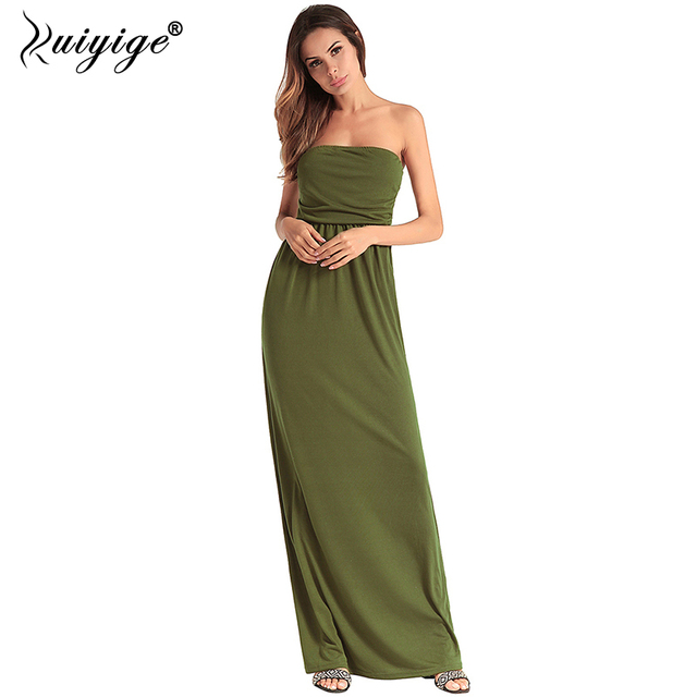 Ruiyige 2018 Women Sexy Strapless Maxi Dress Solid Color Tunic