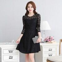 Black Lace Dress Women Elegant Hollow Out Work Wear Formal Dresses Large Size Tunics Transparent Vestidos Knee-Dress P7C1478
