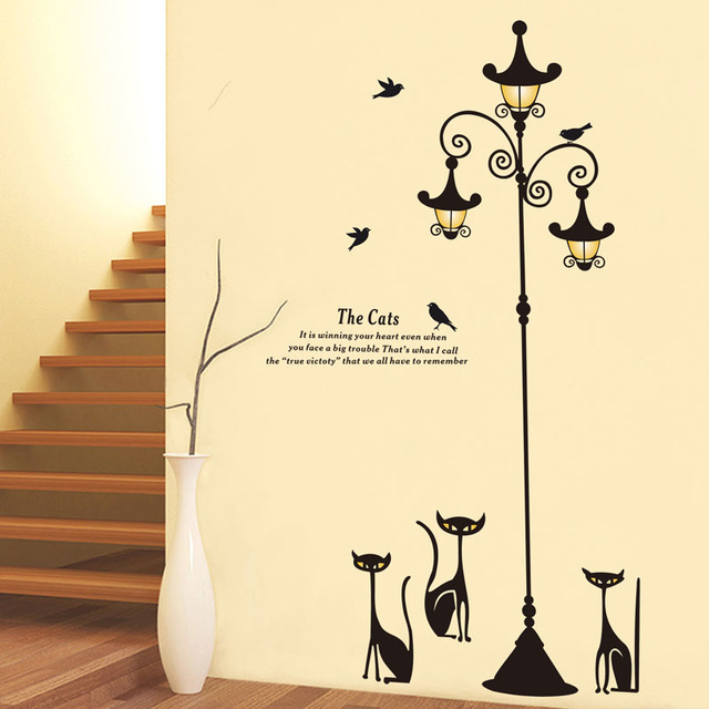 Fundecor diy black cat street light wall stickers home decoration living room nursery children