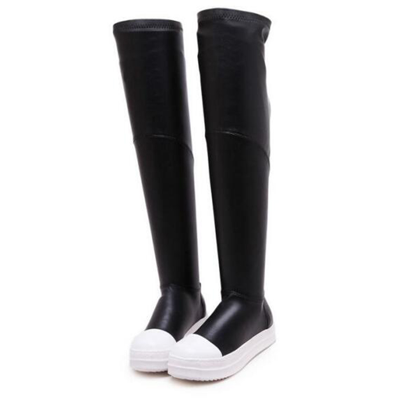 ФОТО 2016 Fashion womens  thigh high boots flat pu leather over the knee stretch boots round toe autumn shoes platform boots z295