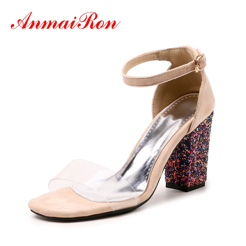 ANMAIRON New arrival Summer Sandals Fashion Causal shoes Women open toe buckle cover heel square heel sandals ZYL586