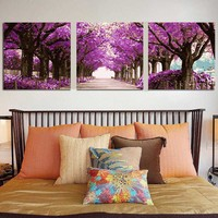 3 Pcs/Set DIY Oil Painting purple tree by Numbers Triptych Pictures Coloring Landscape Abstract Paint Wall Sticker Home Decor