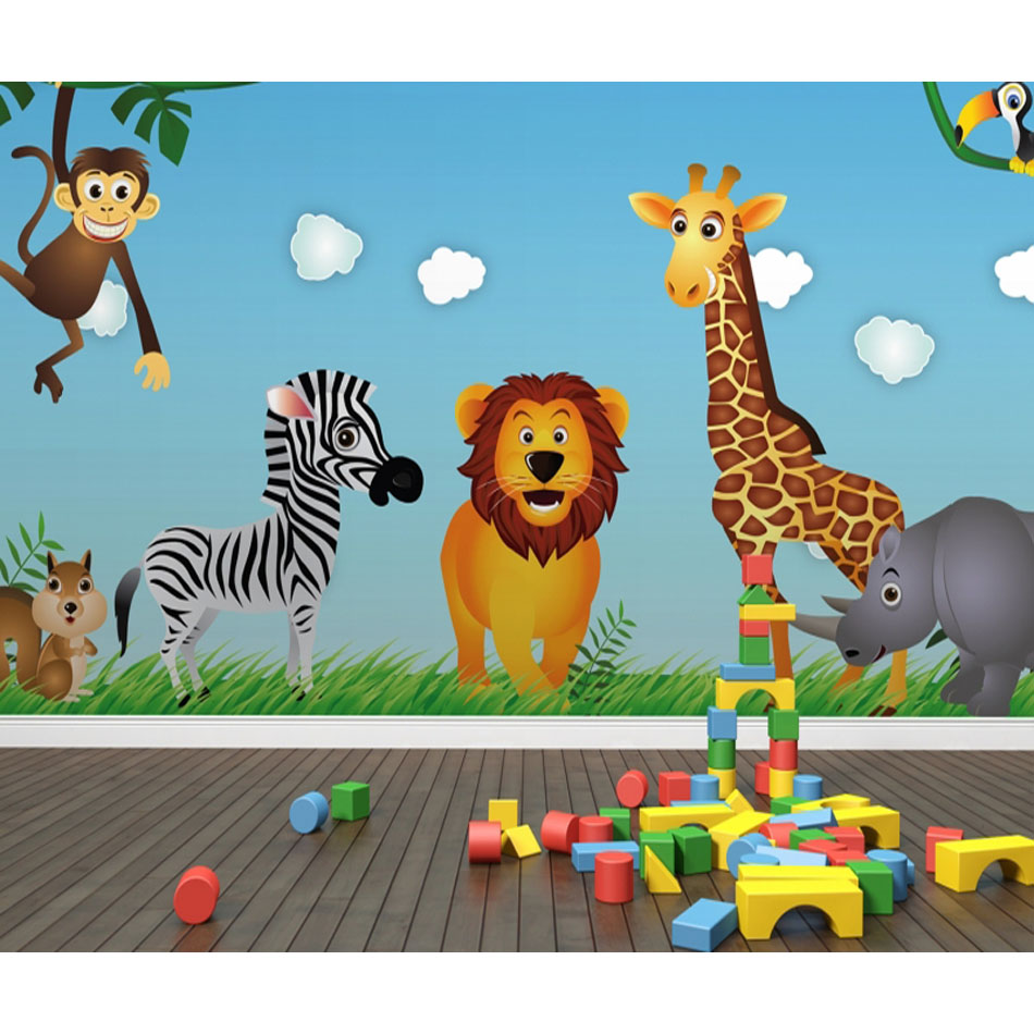 Cartoon Cute Art Animals Lion Zebra 3D Livingroom Mural Rolls for Kids Wallpaper Mural 3D Wallpaper For Child Bedroom Wall Decal shinehome 3d fantastic colorful balloons embossed wallpaper background mural rolls for kids living room wall paper decal art