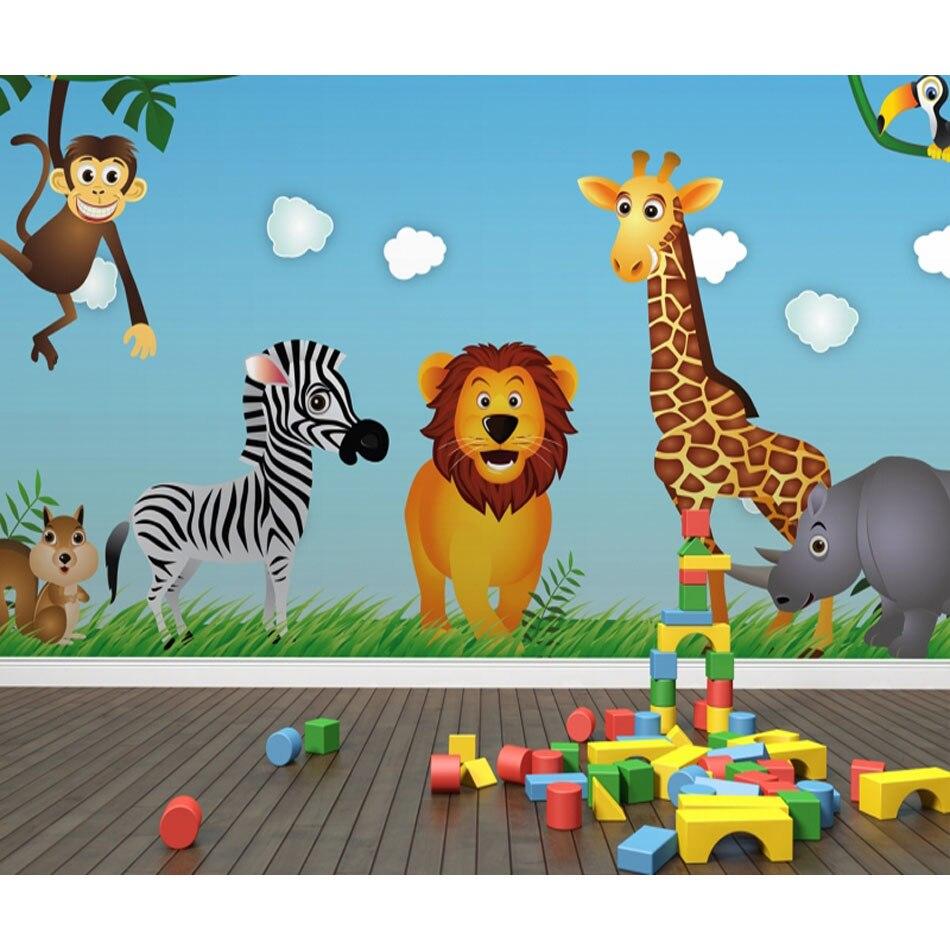 Kartun Lucu Art Hewan Singa Zebra 3D Livingroom Mural Gulungan