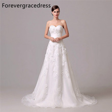 Forevergracedress High Quality Wedding Dress Sweetheart Handmade Flowers Ruched Long Bridal Gown Plus Size Custom Made