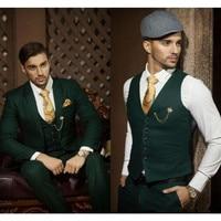 Classic high quality men's suit green lapel single breasted men's business office suite groomsmen dress (jacket + pants + vest)