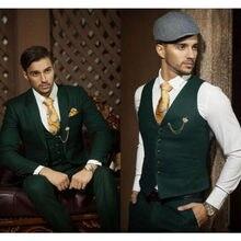 Costume classique de bonne qualité pour homme, tenue à revers vert, simple boutonnage, tenue de bureau, pour garçons d'honneur (veste + pantalon + gilet)
