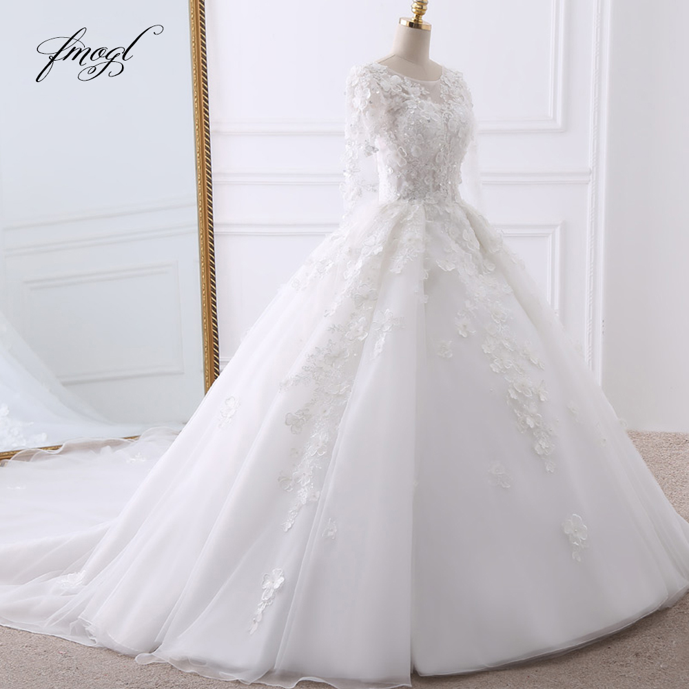Fmogl Vestido De Noiva Long Sleeve Ball Gown Wedding Dresses 2019 Sexy Backless Appliques Beaded Flowers Lace Bride Gowns