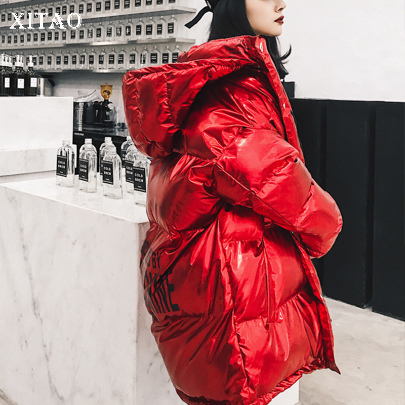 [XITAO] Korea Fashion New Women 2018 Winter Full Sleeve Solid Color Long Coat Female Sequined Print Letter   Parka   LYH2231