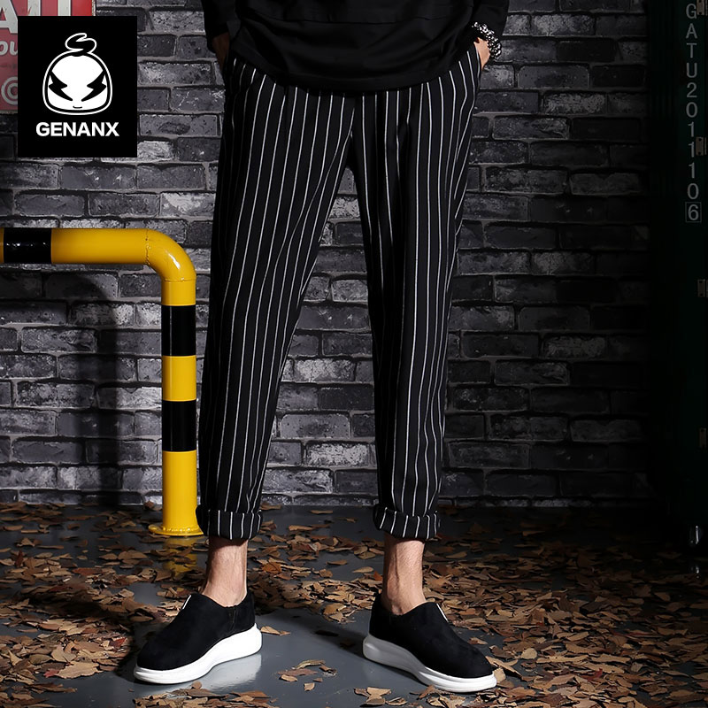 GENANX Brand Fashion Black Casual Pants For Men Straight Autumn Stripe Casual Pants Men Size M-XXL men s fashion casual cotton pants brown size 33