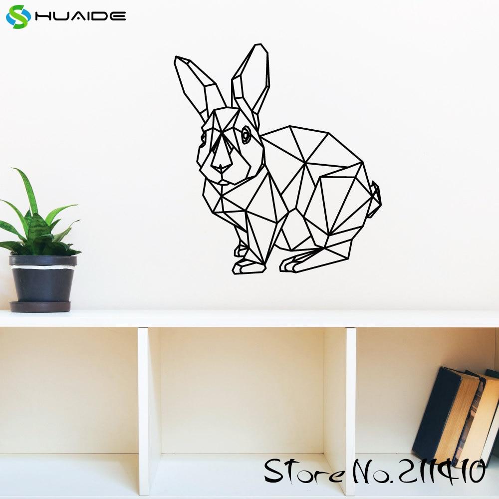 Geometric Rabbit Wall Art Decal Wall Stickers Home Decor Bedroom Nursery Kids Room Girl Bedroom Wall