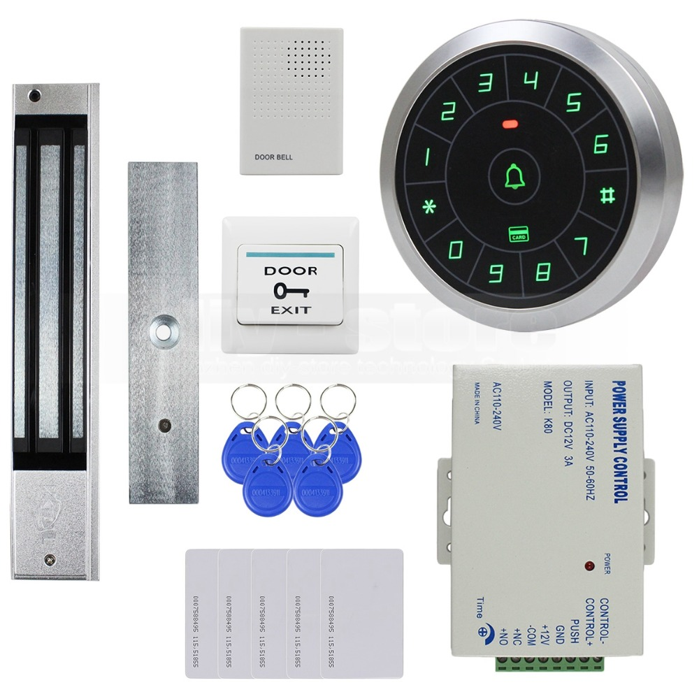 DIYSECUR 125KHz RFID Reader Password Keypad + 280kg Magnetic Lock Door Bell Door Access Control Security System Kit diysecur 280kg magnetic lock 125khz rfid password keypad access control system security kit exit button k2