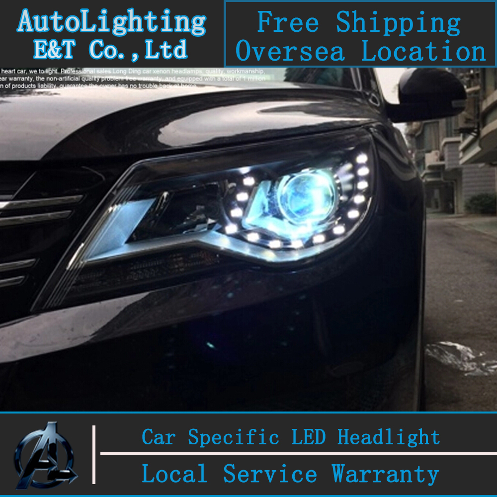 Car styling LED Head Lamp for VW Tiguan led headlight assembly 2010-2012 Europe Volks Wagen drl H7 with hid kit 2pcs.