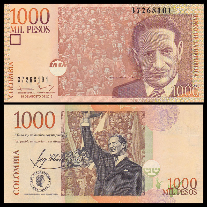 Colombia 1000 1,000 Pesos, 2015, P-456, UNC , Uncirculated, Collection, Gift, America, Original Paper Notes