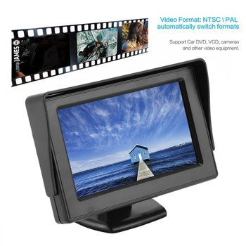 4.3 Inch TFT LCD Monitor Car Rearview Full Color Display 2-channels Video Inputs Visual Reversing for Car VCD/DVD/GPS/Camera Hot