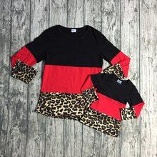 dd6bbeb65937b Bébé filles printemps hiver boutique top t-shirt enfants vêtements famille  regarder maman coton raglans rouge noir léopard à man.