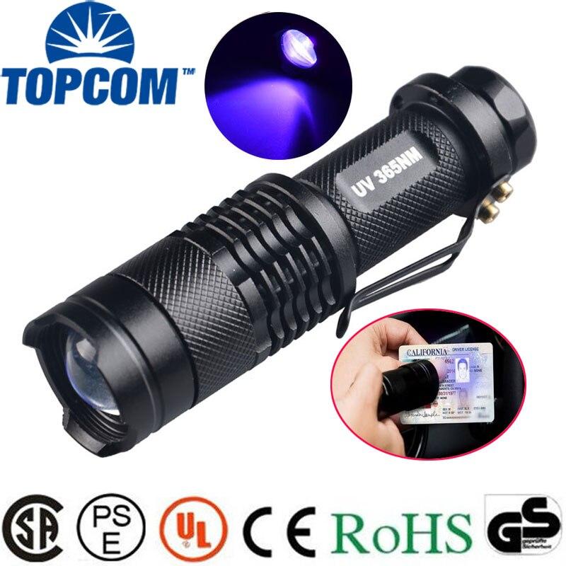 цена на TOPCOM 365nm 395nm XPE UV Blacklight Scorpion UV Light Pet Urine Detector, Zoomable 395nm Ultraviolet Flashlight
