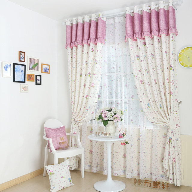 Children Lace Curtains For Bedroom Pink Princess Curtain Panels Girls Kid Baby Drapes Blue Boy Infant Window Treatments Mushroom