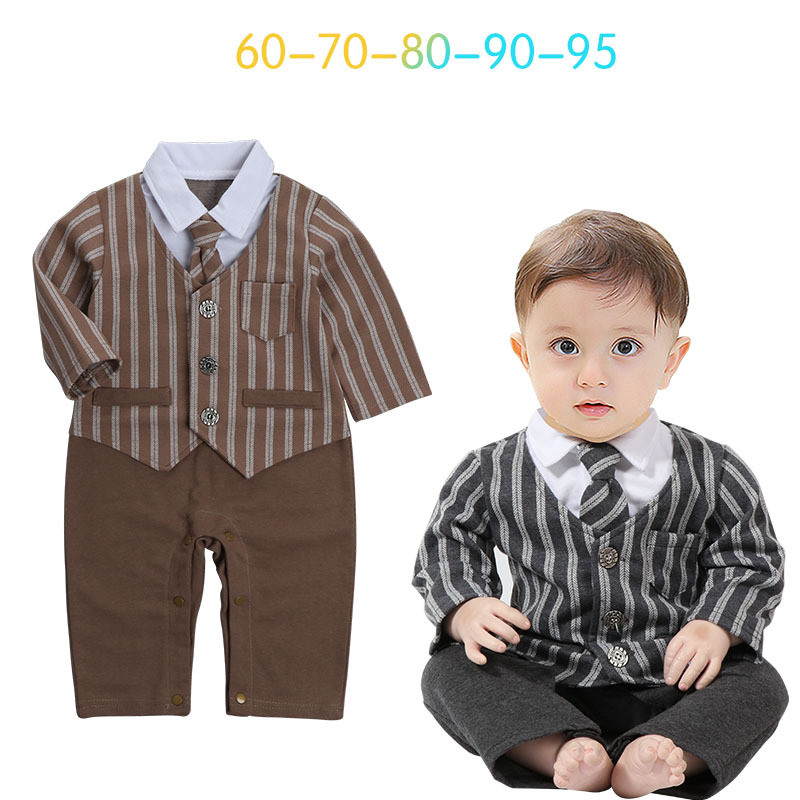 2017 New autumn infant long sleeve rompers fashion baby cotton clothes kids jumpers cool gentleman striped vest rompers 17S907