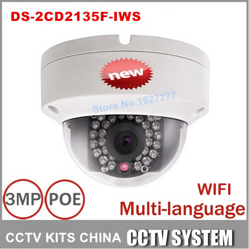 Hikvision DS-2CD2135F-IWS 3MP Camera IR Network IP Camera Support PoE and SD card store multi-language firmware hikvision ds 2cd3955fwd iws 5mp fisheye camera 360 view ip camera support wifi sd card poe ir replace ds 2cd3942f i