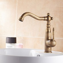 Basin Faucets Antique Bathroom Deck Mounted Single Handle Single Hole WC Bathroom Faucet Brass Hot and Cold Tap ZD717 zgrk deck mounted antique brass faucet single hole dual handle bathroom faucets basin mixer tap