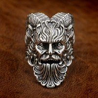 LINSION 925 Sterling Silver Great God Pan Ring Goats Demon Ring Mens Biker Punk TA88 US Size 7~15