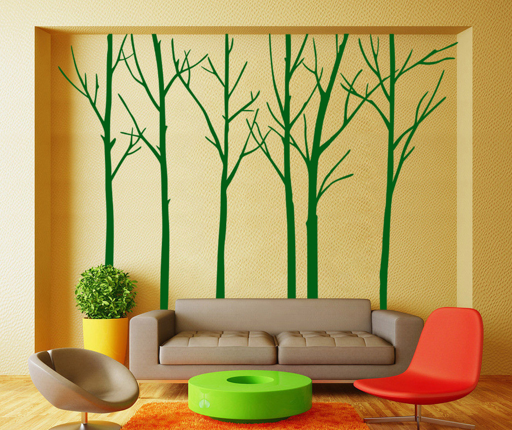 Hand Carving Birch Forest Tree Room Wall Stickers Decal Vinyl Decor ...