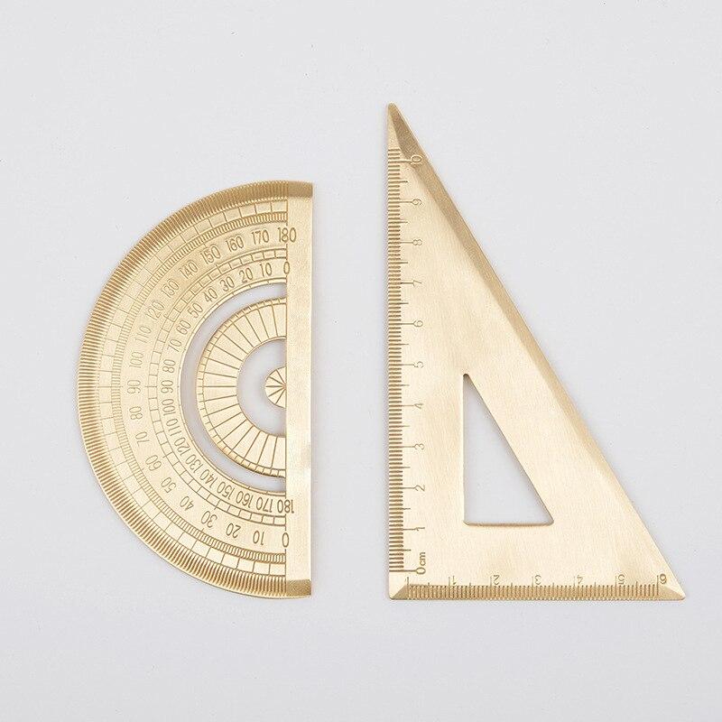 Retro Durable Brass Triangle Ruler Golden Semicircle Protractor Metric Ruler Measure Tool Stationery Drawing ToolRetro Durable Brass Triangle Ruler Golden Semicircle Protractor Metric Ruler Measure Tool Stationery Drawing Tool