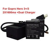2 unids 1600 mAh Paquete de Baterías Recargables + cargador Doble AHDBT-301 AHDBT-201 para Gopro Héroe 3 +/3 Hero3 + Cámara Hero3 Hero3 Go Pro