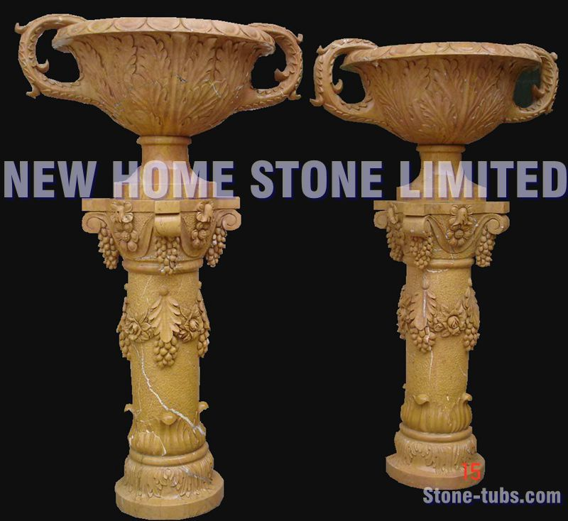 outdoor planters stone carving design large garden pots 2015 sunny gold color hand carved stone garden - Large Garden 2015