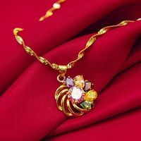Colorful Pendant Necklace Chain Yellow Gold Filled Multicolor Jewelry Womens Accessories Beautiful Gift