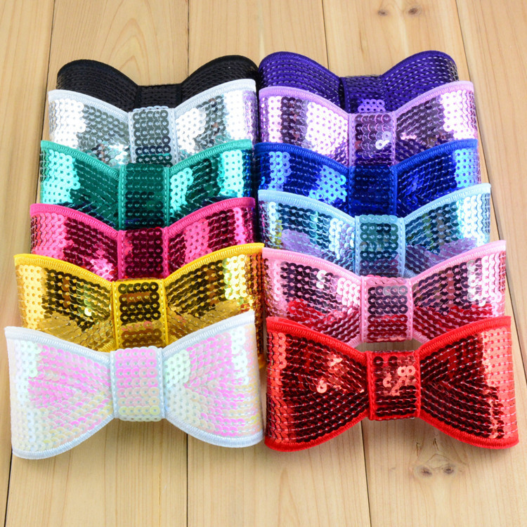 "Wholesale , 60 pcs/lot 4.5"" Sequin Bow , Shinny Hair Bow Large Sparkly Hair bows"
