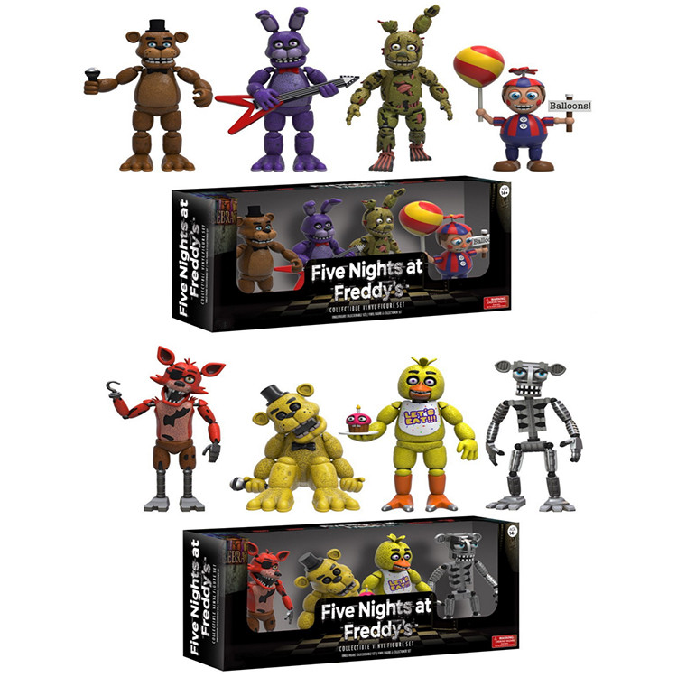 "4Pcs / Set FNAF 2 ""Five Night på Freddy's 5 cm Action figurer Chica Freddy Fazbear Foxy Bonnie FNAF Modeller leksaker Syster Plats"